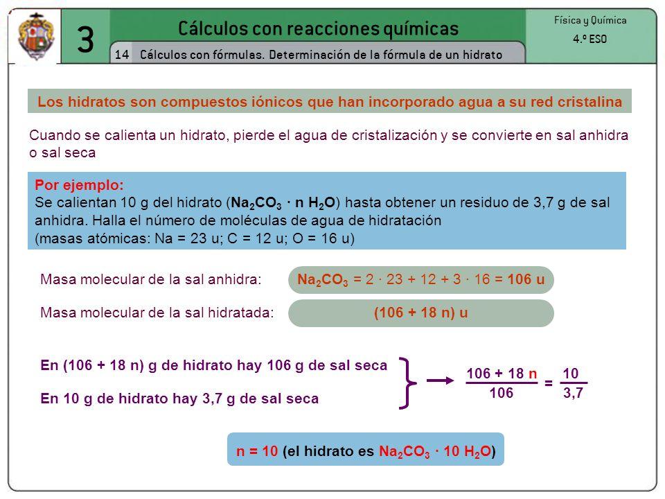3 Cálculos con reacciones químicas 14 Física y Química 4.º ESO Cálculos con fórmulas. Determinación de la fórmula de un hidrato Cuando se calienta un