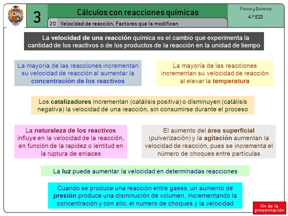 3 Cálculos con reacciones químicas 20 Física y Química 4.º ESO Velocidad de reacción. Factores que la modifican La velocidad de una reacción química e