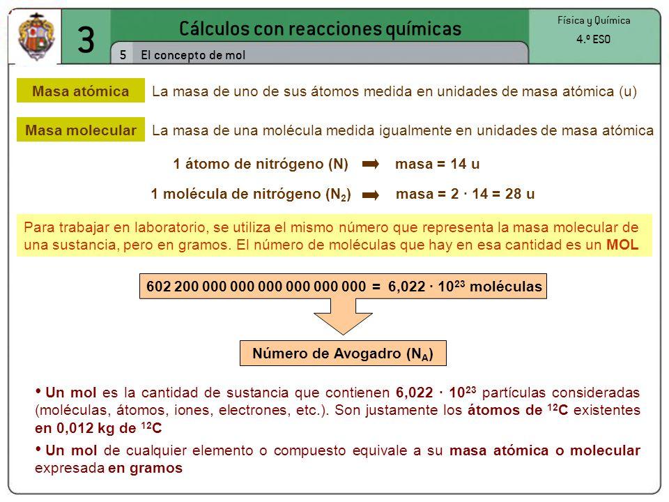 3 Cálculos con reacciones químicas 16 Física y Química 4.º ESO Expresión de la concentración de las disoluciones Indica los gramos de soluto en 100 gramos de disolución Relación entre la cantidad de soluto y de disolvente contenidos en una disolución Porcentaje en masa % masa = g soluto g disolución x 100 Gramos por litro Indica los gramos de soluto en 1 litro de disolución g/L = gramos de soluto litros de disolución Molaridad Indica los moles de soluto en 1 litro de disolución M = moles de soluto litros de disolución A partir de la concentración en g/L se puede calcular la molaridad, y viceversa; pero para relacionar éstas con el porcentaje en masa, es necesario conocer la densidad de la disolución d = masa de disolución volumen de disolución