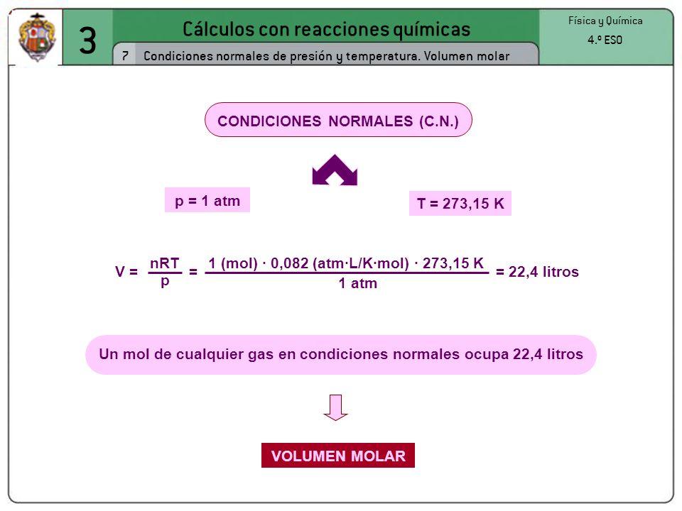 3 Cálculos con reacciones químicas 7 Física y Química 4.º ESO Condiciones normales de presión y temperatura. Volumen molar CONDICIONES NORMALES (C.N.)
