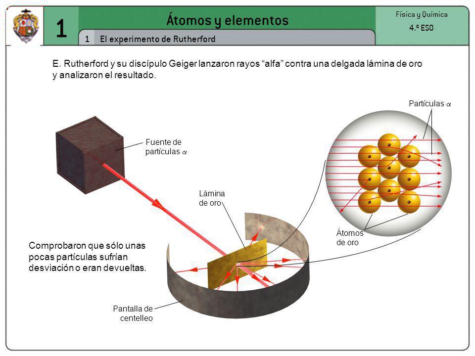 1 Átomos y elementos 1 Física y Química 4.º ESO El experimento de Rutherford E. Rutherford y su discípulo Geiger lanzaron rayos alfa contra una delgad