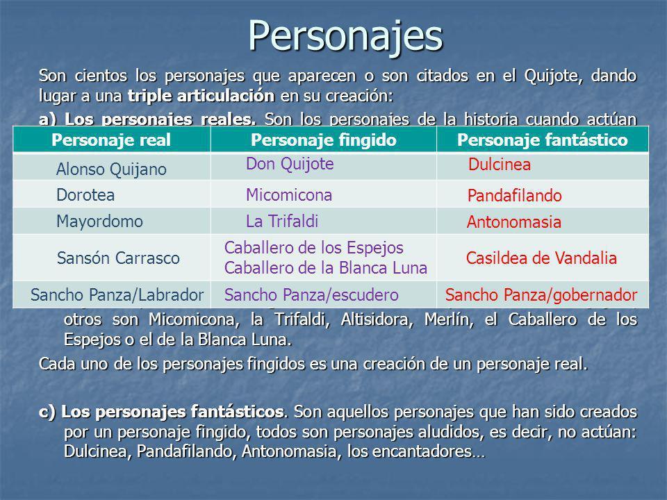 Personajes Son cientos los personajes que aparecen o son citados en el Quijote, dando lugar a una triple articulación en su creación: a) Los personaje