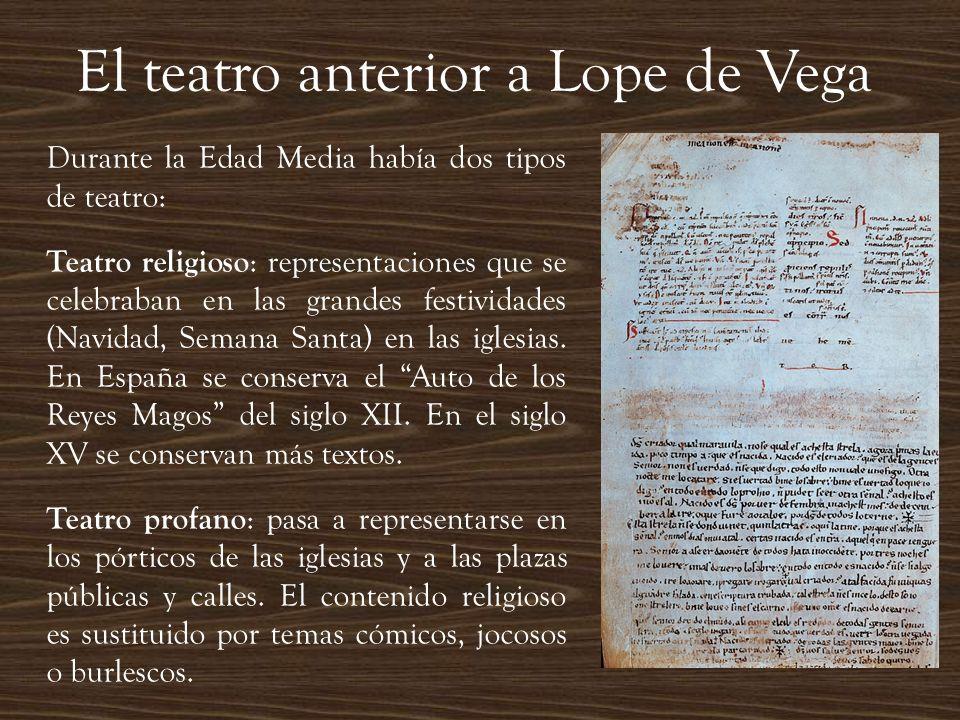 El teatro anterior a Lope de Vega Durante la Edad Media había dos tipos de teatro: Teatro religioso : representaciones que se celebraban en las grande