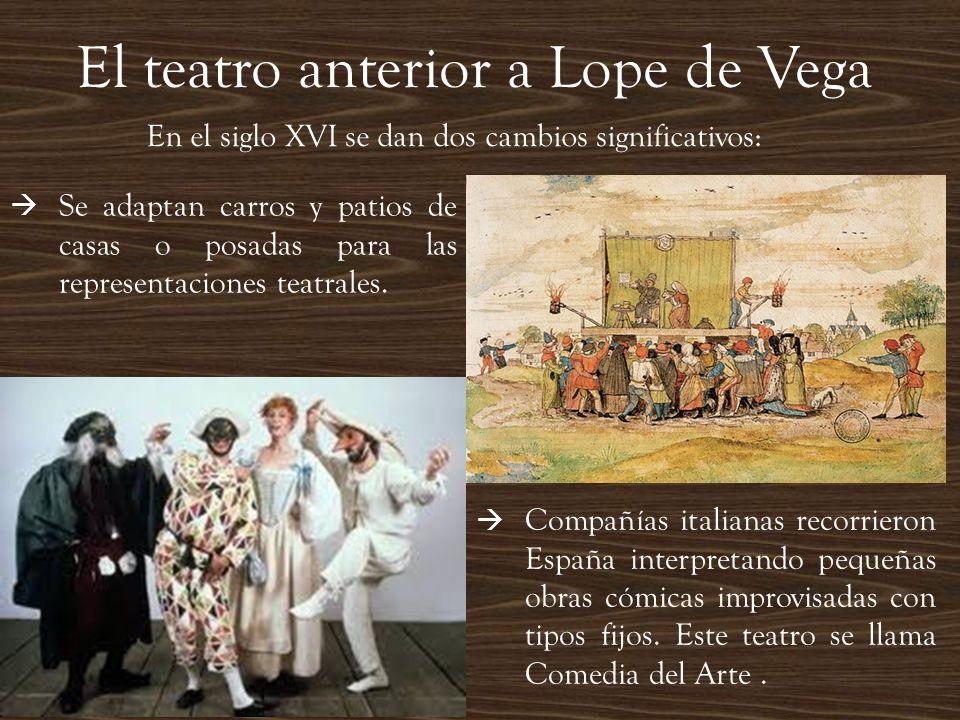 El teatro anterior a Lope de Vega En el siglo XVI se dan dos cambios significativos: Compañías italianas recorrieron España interpretando pequeñas obr