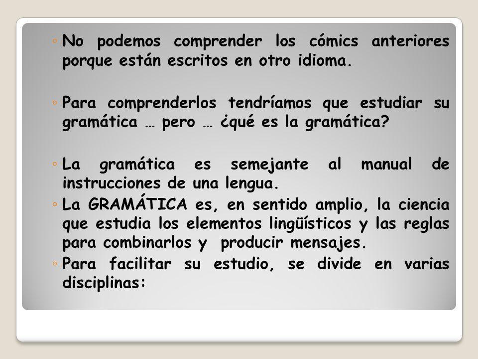 No podemos comprender los cómics anteriores porque están escritos en otro idioma. Para comprenderlos tendríamos que estudiar su gramática … pero … ¿qu