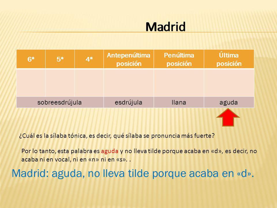 Madrid 6ª5ª4ª Antepenúltima posición Penúltima posición Última posición sobreesdrújulaesdrújulallanaaguda dridMa ¿Cuál es la sílaba tónica, es decir, qué sílaba se pronuncia más fuerte.