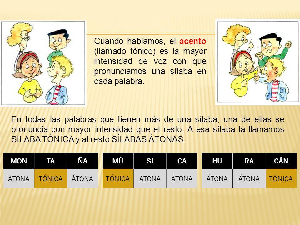 Cuando hablamos, el acento (llamado fónico) es la mayor intensidad de voz con que pronunciamos una sílaba en cada palabra. En todas las palabras que t
