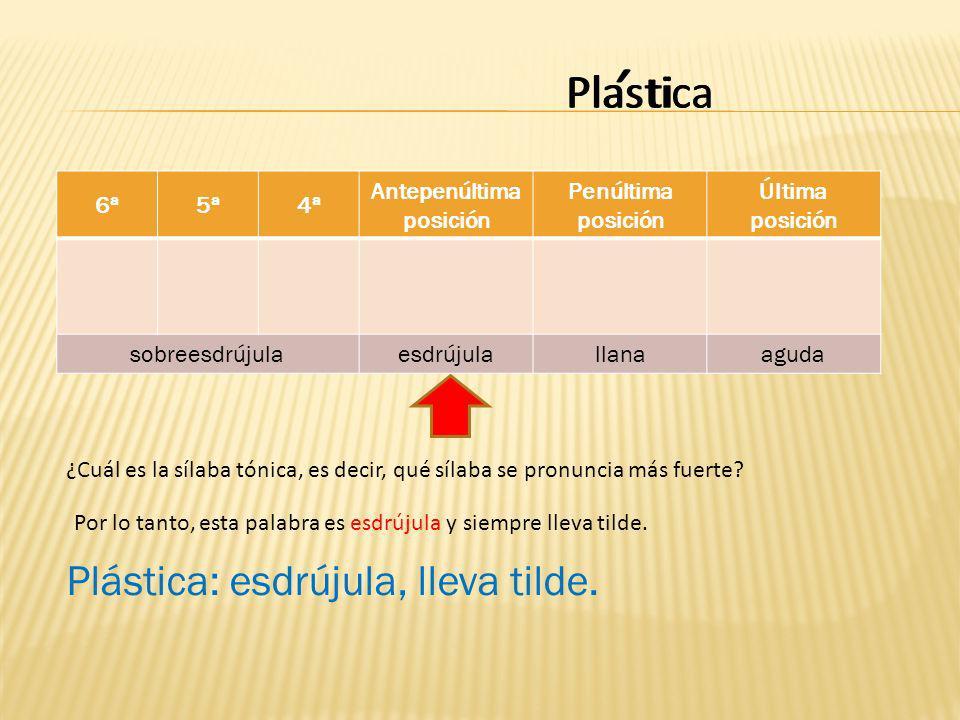 Plastica 6ª5ª4ª Antepenúltima posición Penúltima posición Última posición sobreesdrújulaesdrújulallanaaguda catiPlas ¿Cuál es la sílaba tónica, es decir, qué sílaba se pronuncia más fuerte.