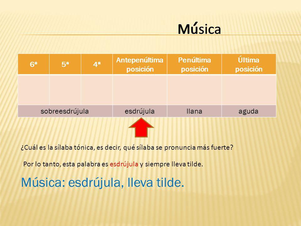 Musica 6ª5ª4ª Antepenúltima posición Penúltima posición Última posición sobreesdrújulaesdrújulallanaaguda casiMu ¿Cuál es la sílaba tónica, es decir, qué sílaba se pronuncia más fuerte.