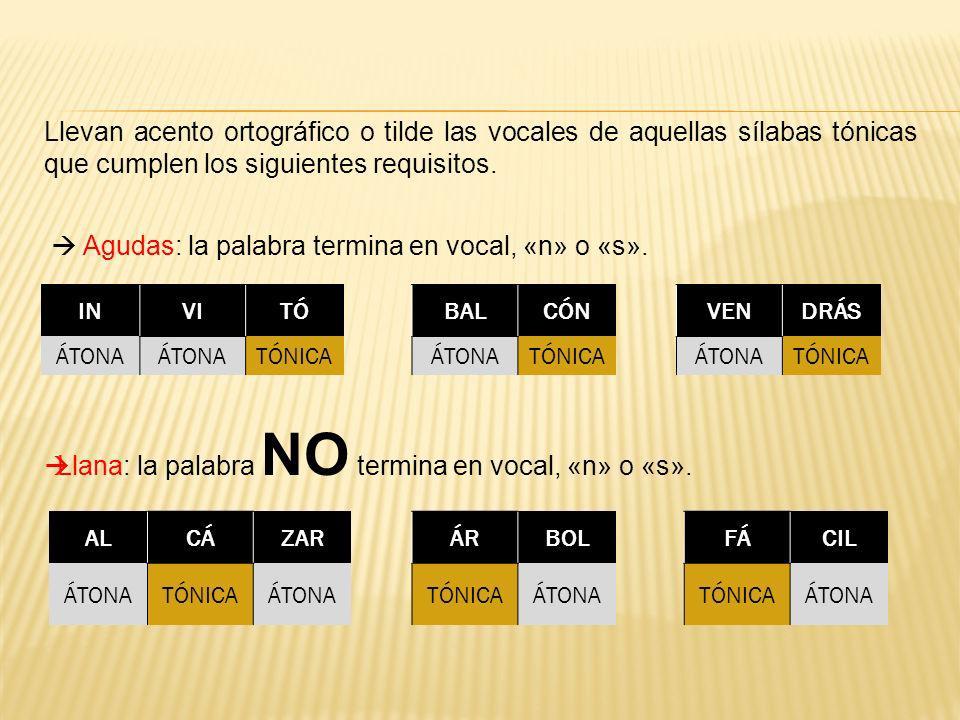 Llevan acento ortográfico o tilde las vocales de aquellas sílabas tónicas que cumplen los siguientes requisitos. Agudas: la palabra termina en vocal,