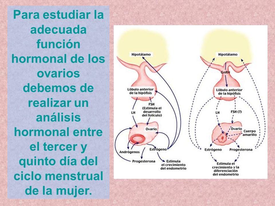 Para estudiar la adecuada función hormonal de los ovarios debemos de realizar un análisis hormonal entre el tercer y quinto día del ciclo menstrual de