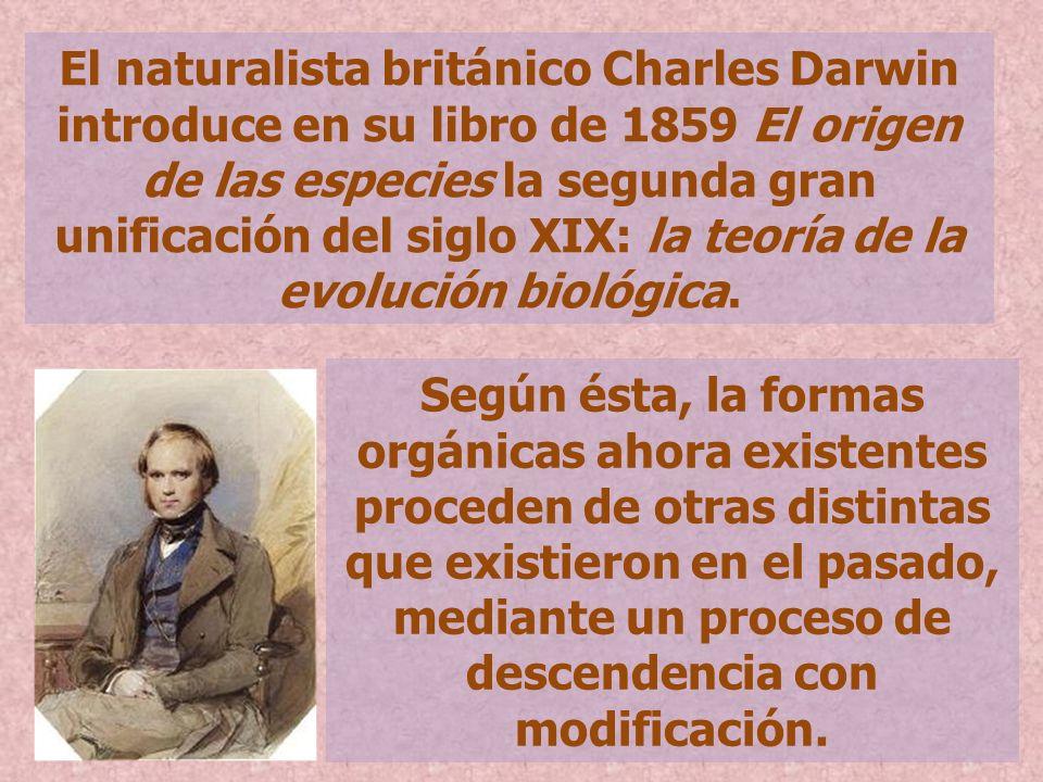 El naturalista británico Charles Darwin introduce en su libro de 1859 El origen de las especies la segunda gran unificación del siglo XIX: la teoría d
