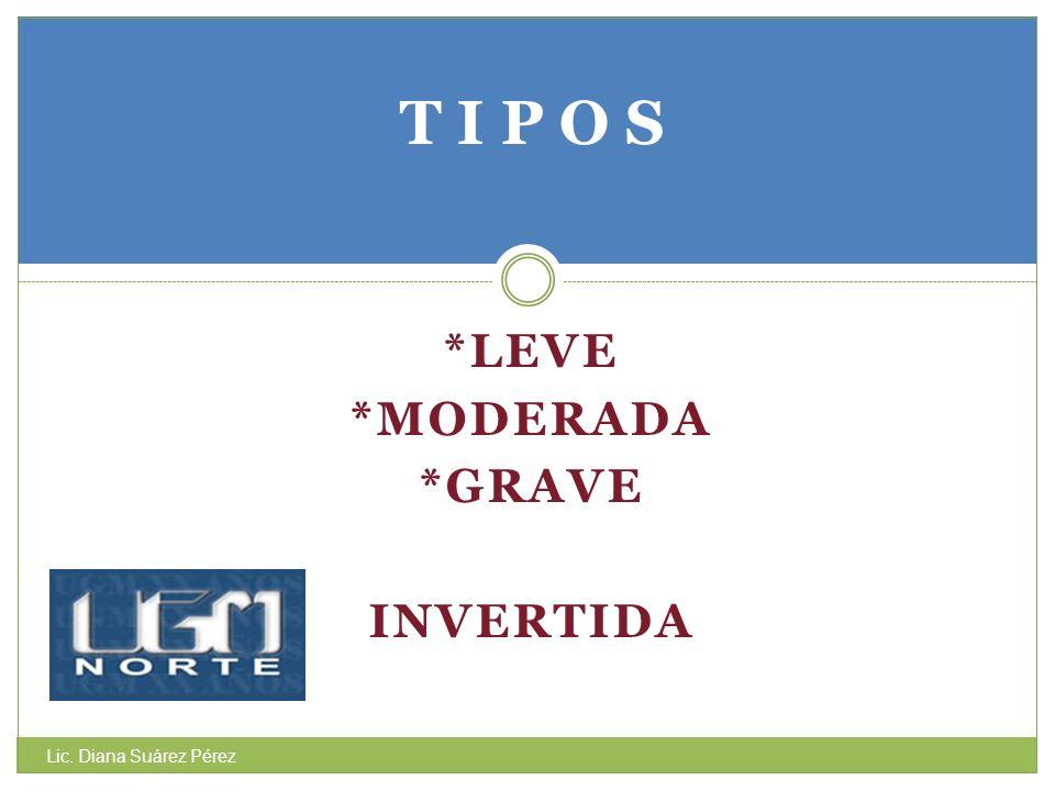 *LEVE *MODERADA *GRAVE INVERTIDA T I P O S Lic. Diana Suárez Pérez