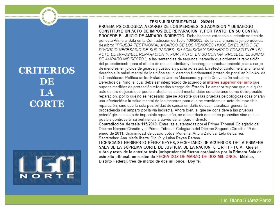CRITERIOS DE LA CORTE Lic. Diana Suárez Pérez TESIS JURISPRUDENCIAL 20/2011 PRUEBA PSICOLÓGICA A CARGO DE LOS MENORES. SU ADMISIÓN Y DESAHOGO CONSTITU