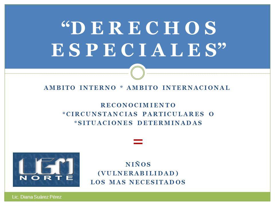AMBITO INTERNO * AMBITO INTERNACIONAL RECONOCIMIENTO *CIRCUNSTANCIAS PARTICULARES O *SITUACIONES DETERMINADAS = NIÑOS (VULNERABILIDAD) LOS MAS NECESIT