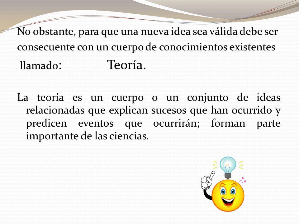 No obstante, para que una nueva idea sea válida debe ser consecuente con un cuerpo de conocimientos existentes llamado : Teoría.