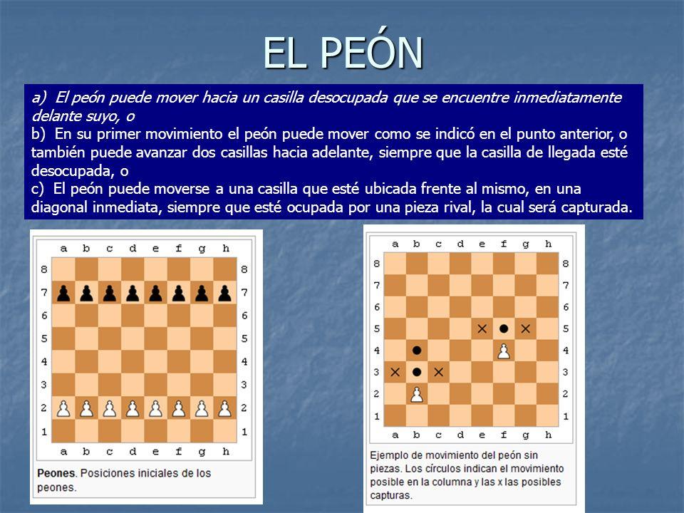EL PEÓN a) El peón puede mover hacia un casilla desocupada que se encuentre inmediatamente delante suyo, o b) En su primer movimiento el peón puede mo