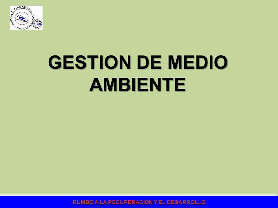 RUMBO A LA RECUPERACION Y EL DESARROLLO GESTION DE MEDIO AMBIENTE
