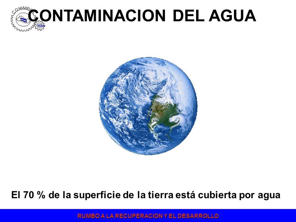 RUMBO A LA RECUPERACION Y EL DESARROLLO CONTAMINACION DEL AGUA El 70 % de la superficie de la tierra está cubierta por agua