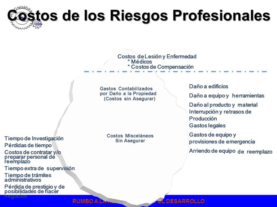 RUMBO A LA RECUPERACION Y EL DESARROLLO Costos de Lesión y Enfermedad * Médicos * Costos de Compensación Daño a edificios Daño a equipo y herramientas