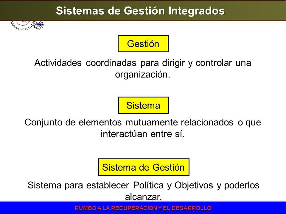 RUMBO A LA RECUPERACION Y EL DESARROLLO Sistema de Gestión Sistema para establecer Política y Objetivos y poderlos alcanzar. Sistema Conjunto de eleme