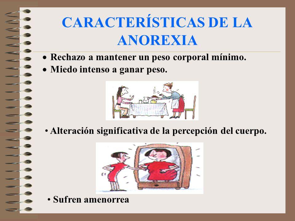 CARACTERÍSTICAS DE LA ANOREXIA Rechazo a mantener un peso corporal mínimo. Miedo intenso a ganar peso. Alteración significativa de la percepción del c