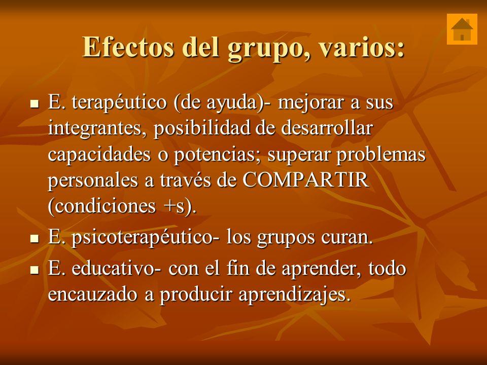 Efectos del grupo, varios: E. terapéutico (de ayuda)- mejorar a sus integrantes, posibilidad de desarrollar capacidades o potencias; superar problemas