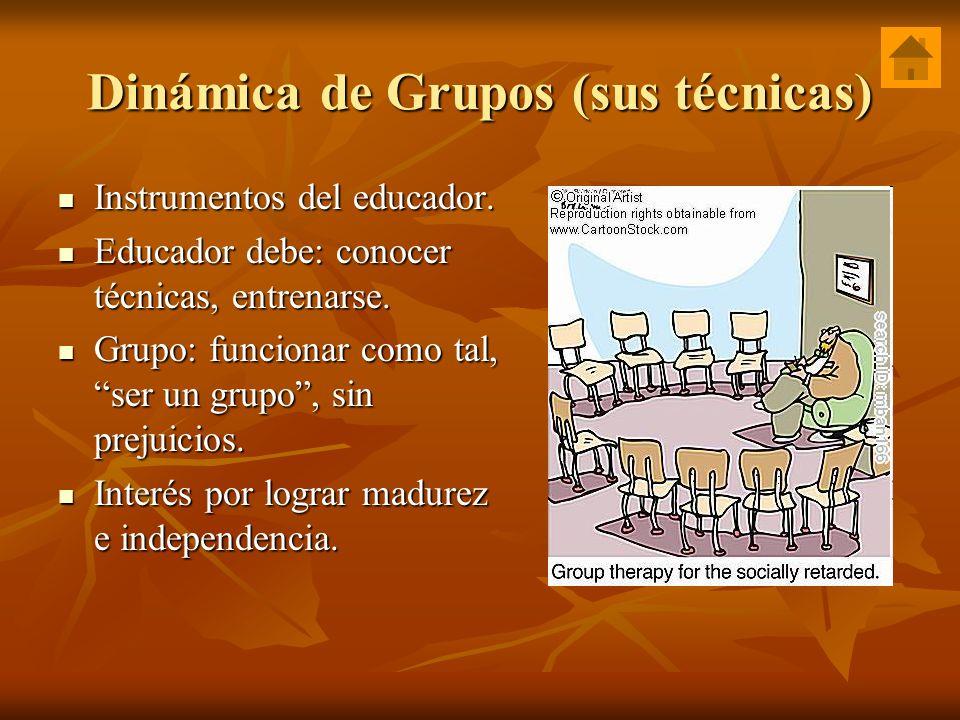 Dinámica de Grupos (sus técnicas) Instrumentos del educador. Instrumentos del educador. Educador debe: conocer técnicas, entrenarse. Educador debe: co