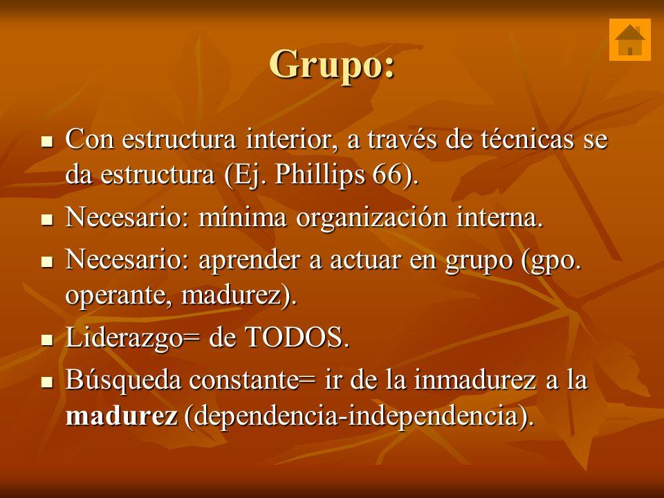 Grupo: Con estructura interior, a través de técnicas se da estructura (Ej. Phillips 66). Con estructura interior, a través de técnicas se da estructur