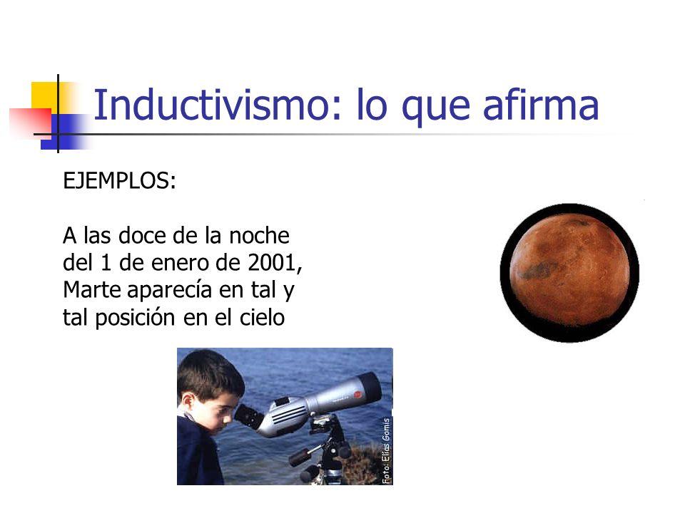 Inductivismo: lo que afirma EJEMPLOS: A las doce de la noche del 1 de enero de 2001, Marte aparecía en tal y tal posición en el cielo