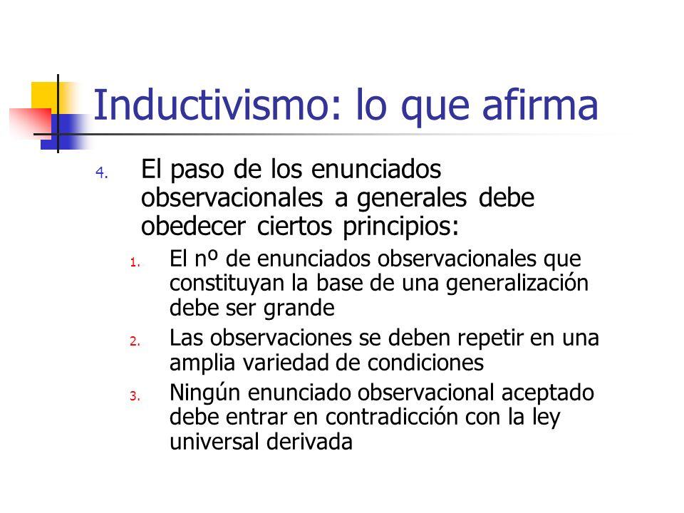 Inductivismo: lo que afirma 4. El paso de los enunciados observacionales a generales debe obedecer ciertos principios: 1. El nº de enunciados observac