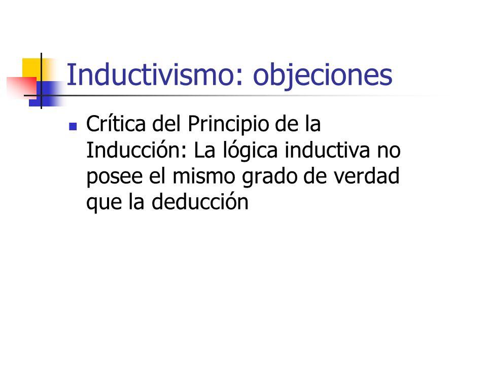 Inductivismo: objeciones Crítica del Principio de la Inducción: La lógica inductiva no posee el mismo grado de verdad que la deducción