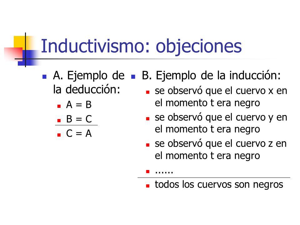 Inductivismo: objeciones A. Ejemplo de la deducción: A = B B = C C = A B. Ejemplo de la inducción: se observó que el cuervo x en el momento t era negr