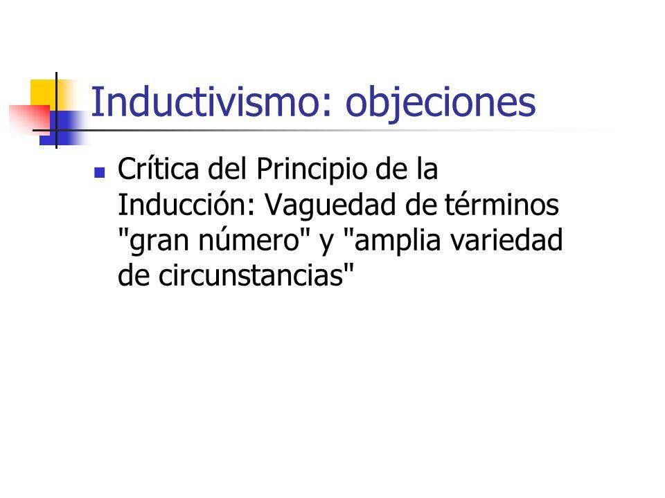Inductivismo: objeciones Crítica del Principio de la Inducción: Vaguedad de términos