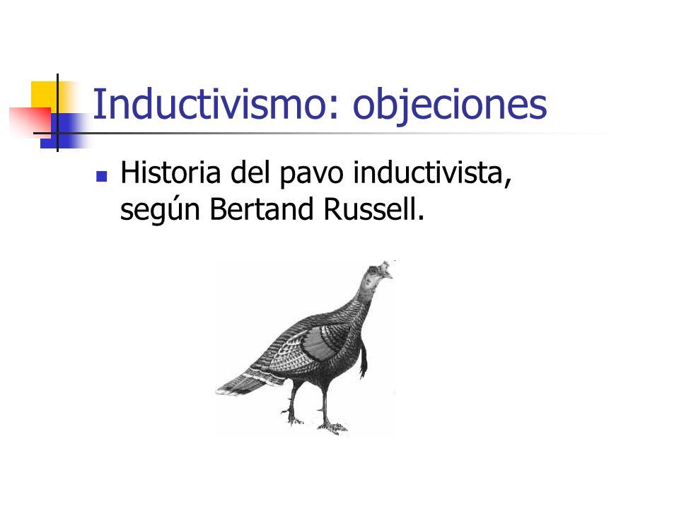 Inductivismo: objeciones Historia del pavo inductivista, según Bertand Russell.