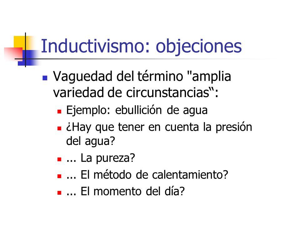 Inductivismo: objeciones Vaguedad del término