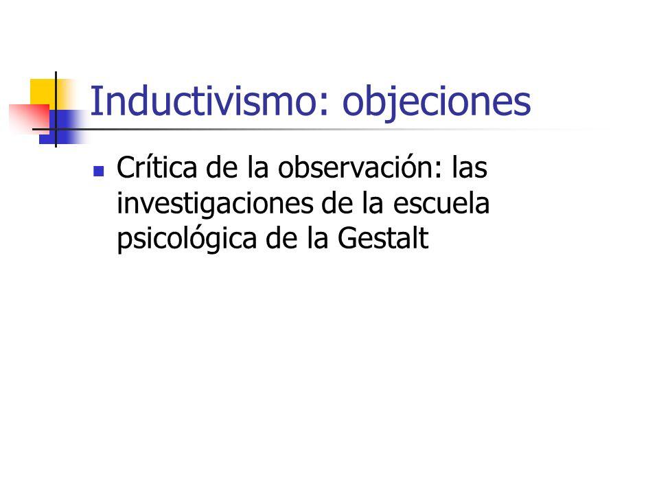 Inductivismo: objeciones Crítica de la observación: las investigaciones de la escuela psicológica de la Gestalt