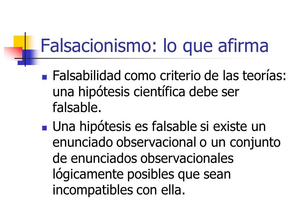 Falsacionismo: lo que afirma Falsabilidad como criterio de las teorías: una hipótesis científica debe ser falsable. Una hipótesis es falsable si exist