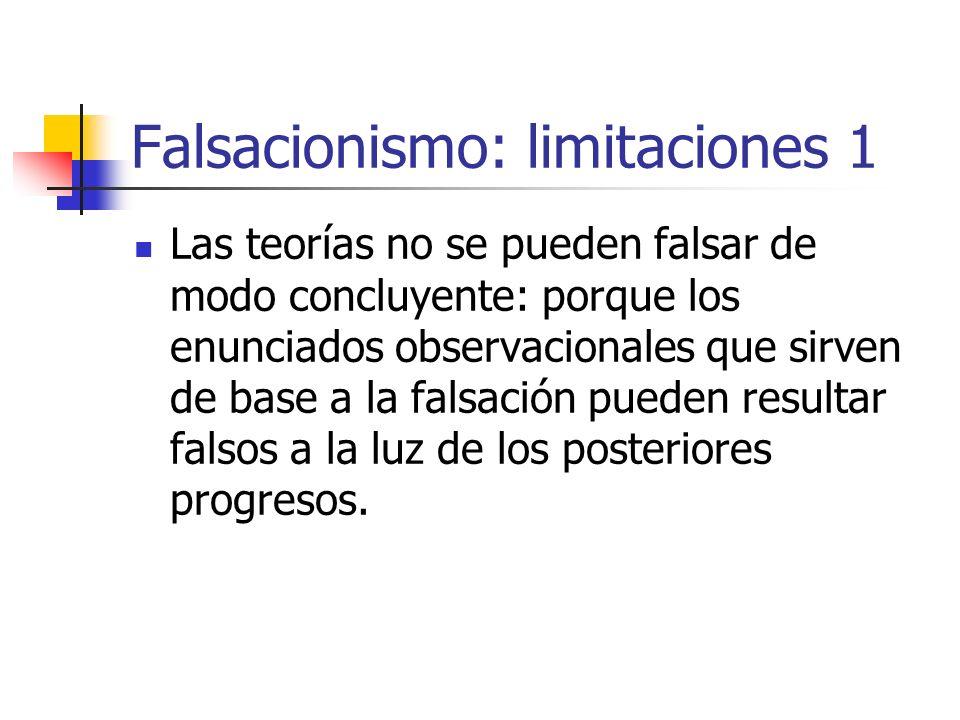 Falsacionismo: limitaciones 1 Las teorías no se pueden falsar de modo concluyente: porque los enunciados observacionales que sirven de base a la falsa