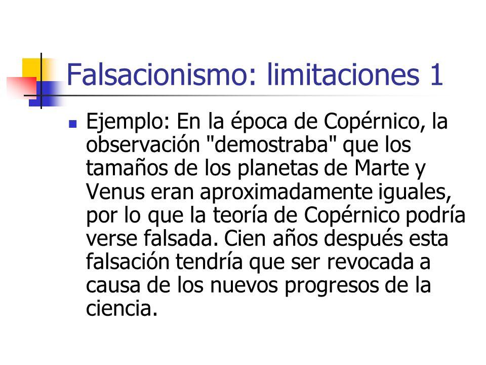 Falsacionismo: limitaciones 1 Ejemplo: En la época de Copérnico, la observación