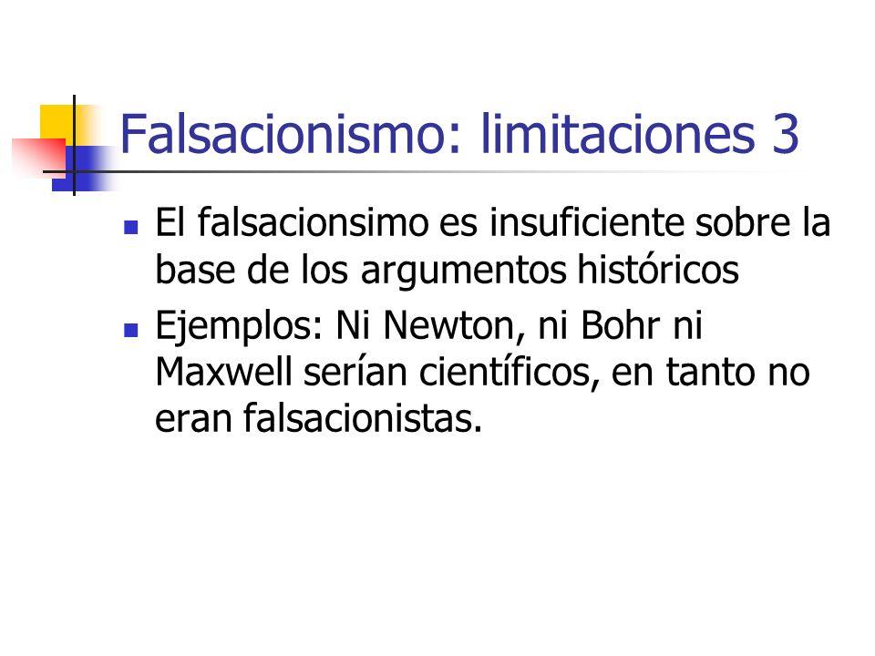 Falsacionismo: limitaciones 3 El falsacionsimo es insuficiente sobre la base de los argumentos históricos Ejemplos: Ni Newton, ni Bohr ni Maxwell serí