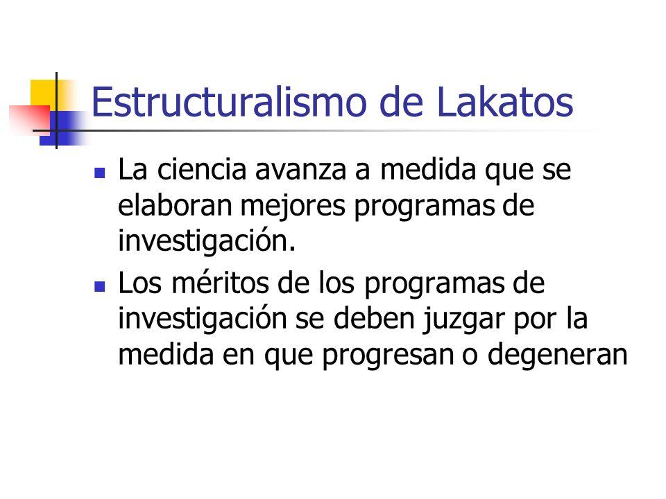 Estructuralismo de Lakatos La ciencia avanza a medida que se elaboran mejores programas de investigación. Los méritos de los programas de investigació