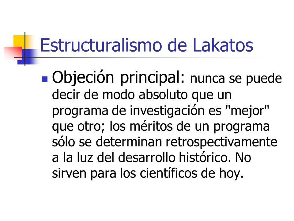 Estructuralismo de Lakatos Objeción principal: nunca se puede decir de modo absoluto que un programa de investigación es