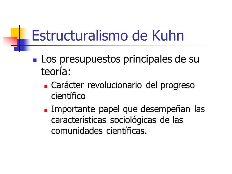 Estructuralismo de Kuhn Los presupuestos principales de su teoría: Carácter revolucionario del progreso científico Importante papel que desempeñan las