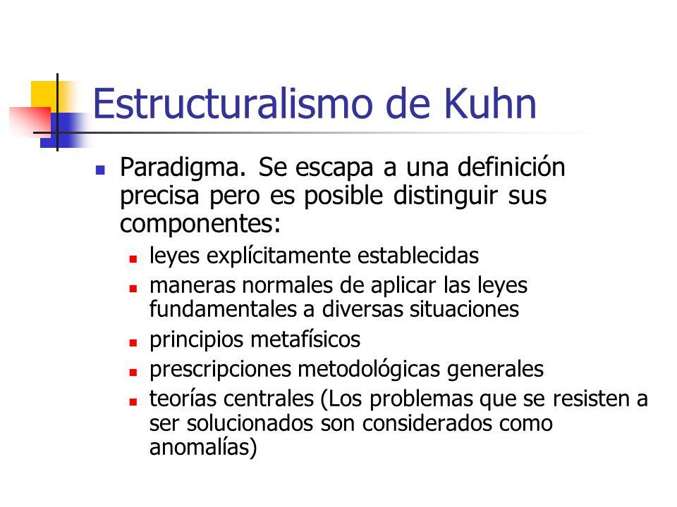 Estructuralismo de Kuhn Paradigma. Se escapa a una definición precisa pero es posible distinguir sus componentes: leyes explícitamente establecidas ma