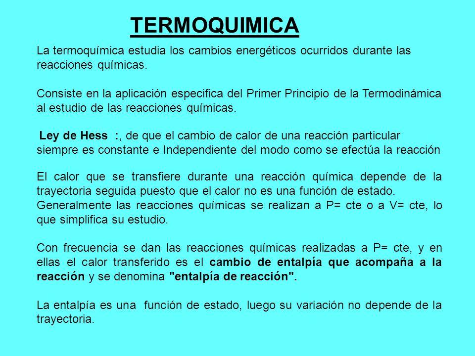 TERMOQUIMICA La termoquímica estudia los cambios energéticos ocurridos durante las reacciones químicas. Consiste en la aplicación especifica del Prime