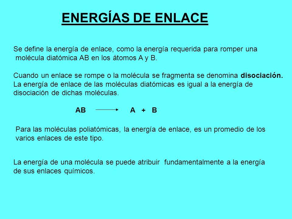 ENERGÍAS DE ENLACE Se define la energía de enlace, como la energía requerida para romper una molécula diatómica AB en los átomos A y B. Cuando un enla