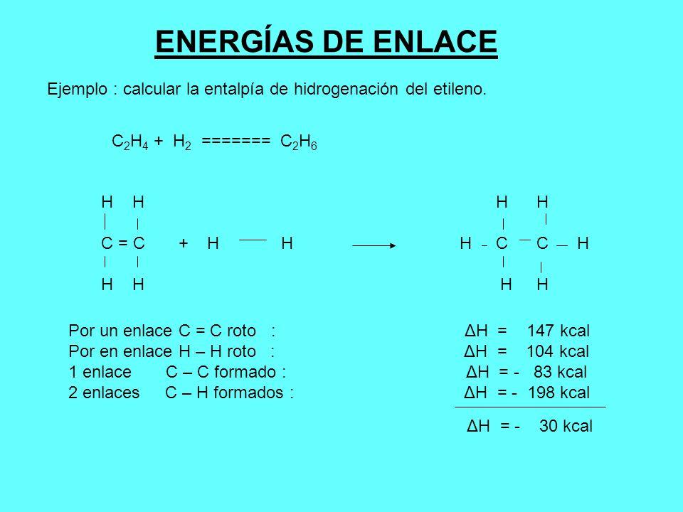 ENERGÍAS DE ENLACE Ejemplo : calcular la entalpía de hidrogenación del etileno. C 2 H 4 + H 2 ======= C 2 H 6 H H C = C + H H H C C H H H Por un enlac