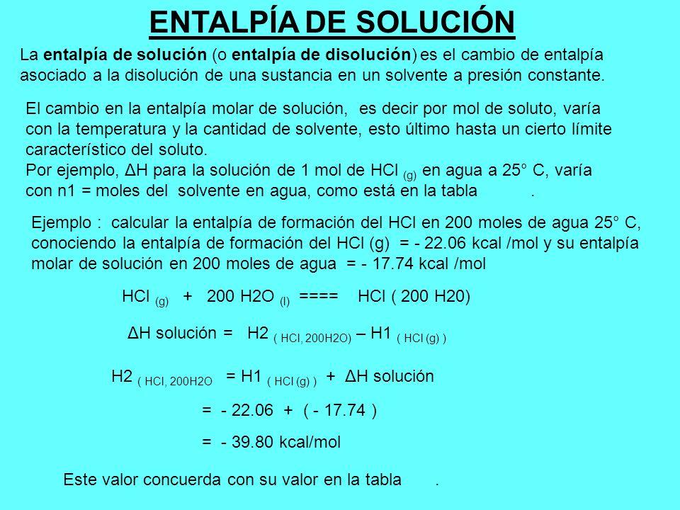 ENTALPÍA DE SOLUCIÓN La entalpía de solución (o entalpía de disolución) es el cambio de entalpía asociado a la disolución de una sustancia en un solve