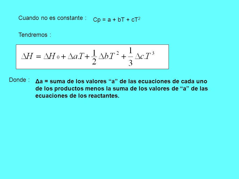 Cuando no es constante : Cp = a + bT + cT 2 Tendremos : Donde : Δa = suma de los valores a de las ecuaciones de cada uno de los productos menos la sum